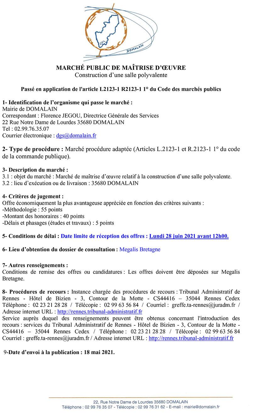 PUBLICITE MAITRE OEUVRE SALLE 2021